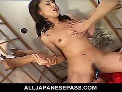 No Sound: Mai sucks cock in the middle of two glory holes