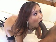Asian babe with big booty takes it in the A