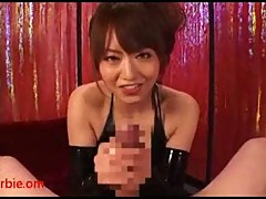 Japanese in latex jerking POV cock