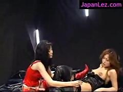 Latex and Lingerie Sucking Rubbing Tits Lesbian