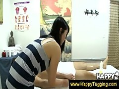 Handjob and sucking from Asian masseuse