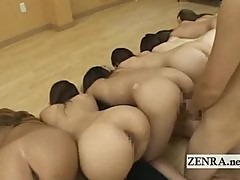Nudist Japanese schoolgirls ass inspection by teacher