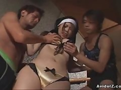 Hot busty big tit Japanese nun groupsex