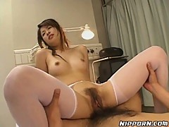 Asian slut gets her harry pussy ravaged by a great big cock!