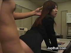 Japanese office slut fucked from behind