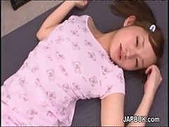 Cute japanese girl takes facial after blowjob