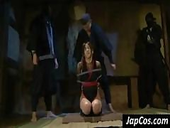 Brunette Asian Is Tied Up And Abused And Tortured By Two Ninjas