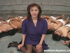 Dozens of cock flocking for nasty japanese slut