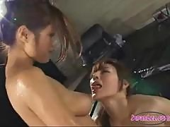 2 Asian Girls Jelly On Bodies Kissing Spitting Patting Sucking Toes On The Wrestling Mat