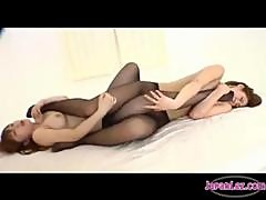 2 Asian Girls In Pantyhose Sucking Toes Rubbing In Scissor Licking Pussies On The Bed