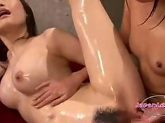 2 Asian Girls Rubbing Lotion On Bodies Sucking Toes Rubbing And Fingering Pussies On The Bed
