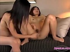 Asian Girl In Pantyhose Fingered Legs Licked Nipples And Toes Sucked On The Couch