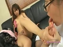 Asian Girl Kissing Passionately Getting Her Nipples And Toes Sucked Asshole Licked On The Couch