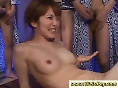 Asian minx gives blowjob