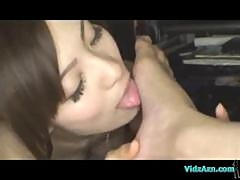 Busty Asian Girl In Lingerie Sucking Her Boyfriend Toes And Cock On The Carpet In The Room