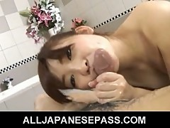 Japanese teen karin kusunoki enjoys sucking cock and licking toes