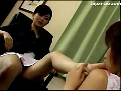 Maid licks her mistresses toes and pussy