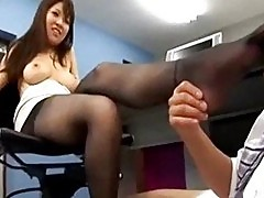 Office lady getting her toes sucked asshole licked and finge