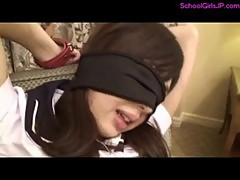 Schoolgirl Bondaged And Blindfolded Getting Her Nipples And Toes Sucked Stimulated With Vibrator By
