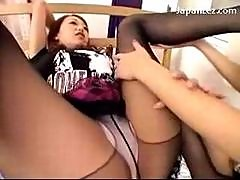 2 Girls In Pantyhoses Sucking Toes Rubbing..