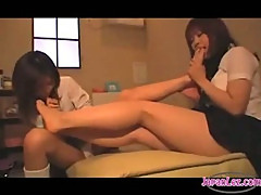 2 Schoolgirls Sucking Each Other Toes On The Bed In The Room