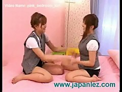 Lesbians have fun in pink bedroom