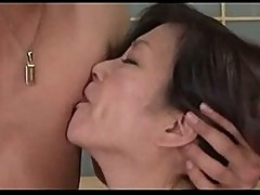 Mature woman sucking cock 69 fucked by young guy on the bed