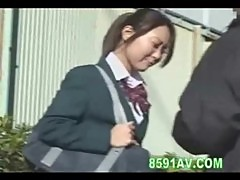 Schoolgirl double penetration in elevator