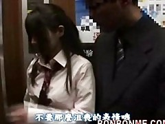 Japanese schoolgirl gives lucky guy a blowjob in elevator 01