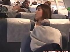 plane geek fucks girl and gives facial cumshot