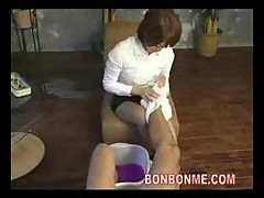 cute foot masseur gives nice blowjob and fucked..
