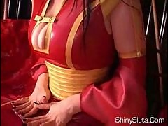 Occidental geisha in latex kimono big oily tits shaved pus