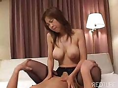 Japanese Girl With Nice Boobs Uses A Dildo And Fucks Him Hard