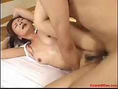 Milf giving blowjob for young guy cum to mouth getting her t