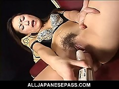 Super horny Japanese AV model uses a vibrator to toy her sha