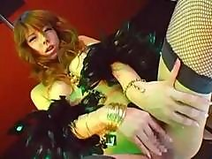 Sexy Little Japanese Pole Dancer In Fishnets Toys Her Hairy Slit