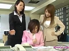 Office Lady Getting Her Tits Rubbed Nipples Stimulated With Vibrator Pussy Rubbed By 2 Colleagues On The Desk In The Office