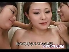 Two Appetizing Japanese Cocats Lick Pregnant Girl's Shallow Pussy