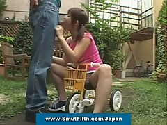 Japanese cutie gets bukkaked in the garden