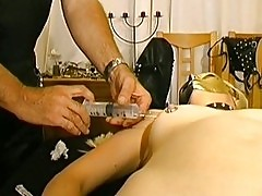 Masked Amateur Slavegirl in Saline Injections