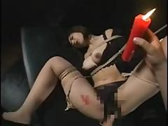 Naughty Asian Slave Is Suspended And Toyed In Her Hairy Snatch And Gets Melted Wax Torture