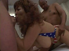 Horny slut gets fucked from behind while sucking cock