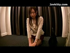 Asian Office Worker Gets Cumshots On Her Black Pantyhose
