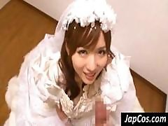 Japanese Bride Gets Fingered And Then Gives Him A Blowjob