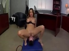 Boss sits on his face and makes him worship her feet