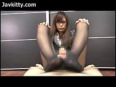 Japan Office Lady Gives A Wild Footjob