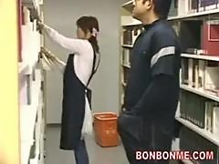 Cute librarians fucked by saytr in library